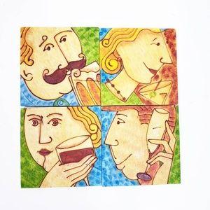 Artsy vibrant coasters set of 4